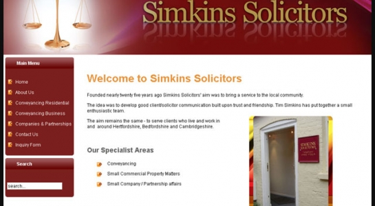 Website for Simkins Solicitors
